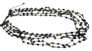 Other Silver Colored Multi Chain Strand Necklace W/ Crystals N055