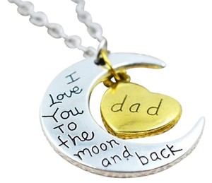I LOVE YOU TO THE MOON AND BACK NECKLACES 2 TONE..