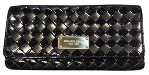 Michael Kors Leather Patent Leather Black Clutch