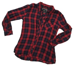 Rails Button Down Shirt Navy Red