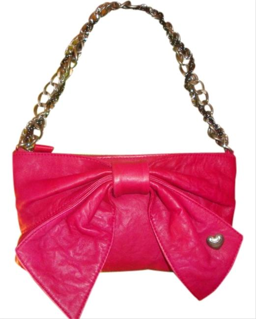Item - Red W/Silver Chains Leather Shoulder Bag