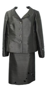 Rickie Freeman for Teri Jon RICKIE FREEMAN FOR TERI JON EMBELLISHED BLACK SILK BLEND TAFFETA SKIRT SUIT 12