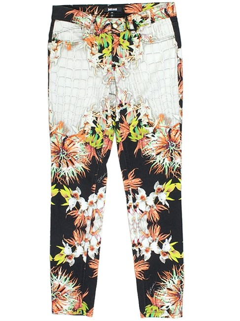 Just Cavalli Crocodile Animal Print Print Denim Floral Skinny Jeans-Light Wash