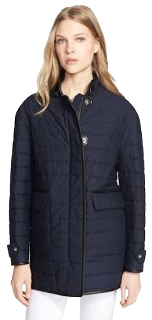 Burberry Navy Brit Womens Leather Trim Quilted Jacket L