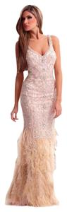 Terani Couture Prom Ball Gown Feather Dress