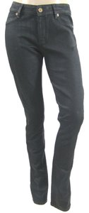 Superfine Waxed Denim Skinny Straight Leg Jeans-Coated