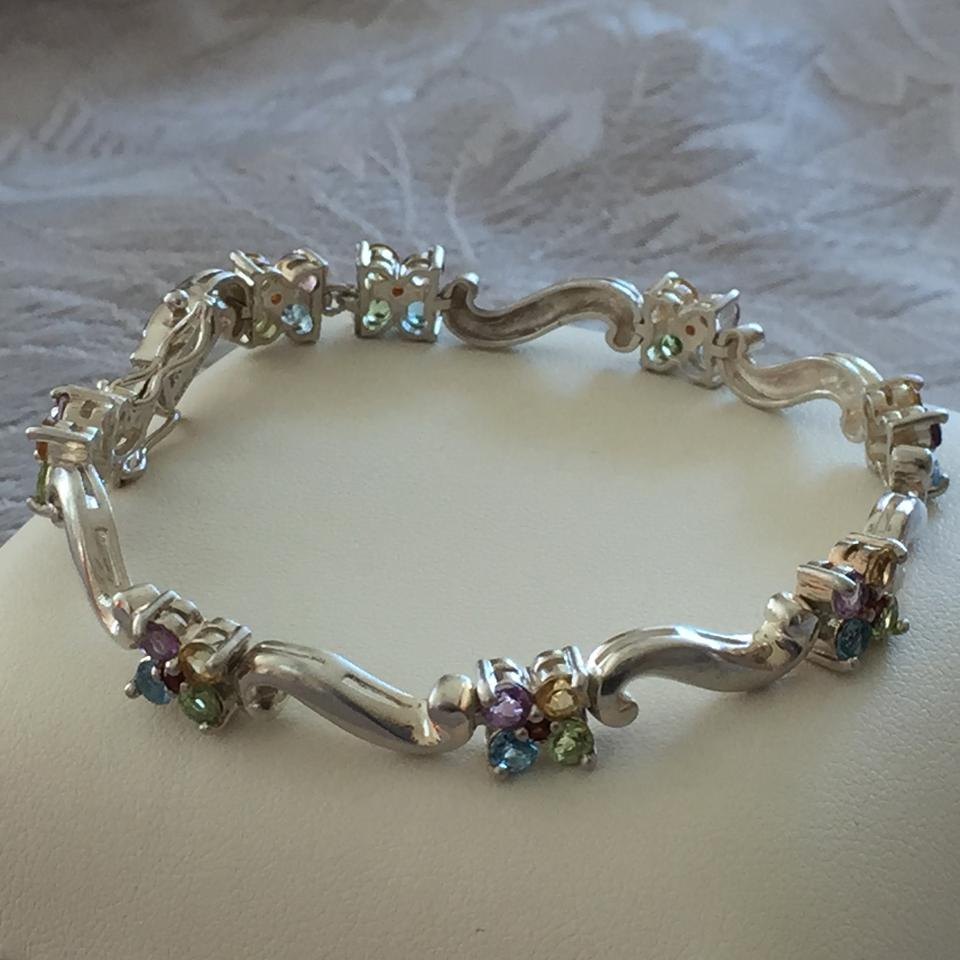 Other Multi Colored Semi Precious Stones Sterling Silver Bracelet 6 1234567891011
