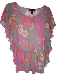 INC International Concepts Chiffon Light Self-tie Belt Flutter Sleeves Foral Print Top Beige