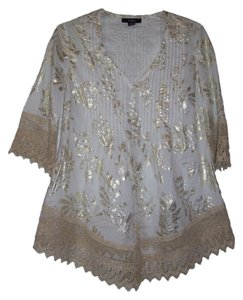 Alfani Pintucked Front Tunic. Foil Printed Crochet Embroidery Unlined Button Down Shirt White