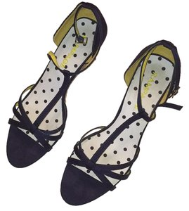 Rampage Navy straps, yellow interior with navy polka dot on the insole, wicker deltail on the wedge heel Wedges