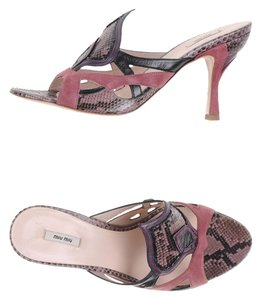 Miu Miu Suede Pink Designer Like New Python Leather Muli Colored Sandals
