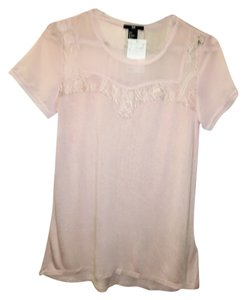 H&M Pink Lace Loose Fitting Top Dusty Pink