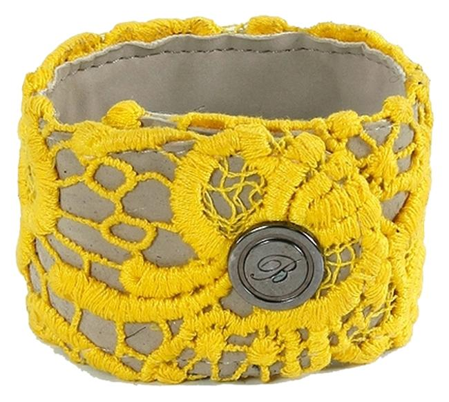 Item - Yellow Lace Covered Cuff Bracelet