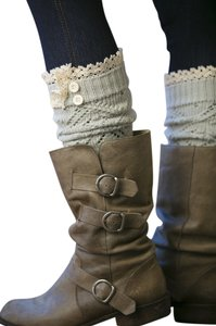 White Plum Lace Trimmed Boot Cuffs
