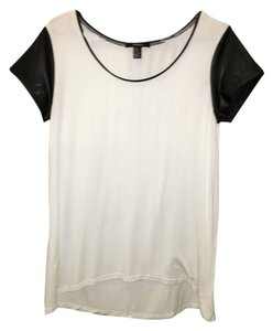 Forever 21 Loose Fit Faux Leather T Shirt White