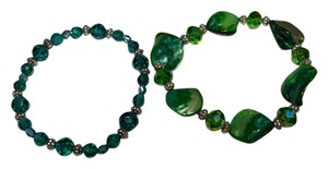 Other 2 Green Stretch Bracelets W/ Shell & Crystals B056