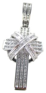 14kt SOLID White Gold Diamond Cross Pendant for Sale!!!