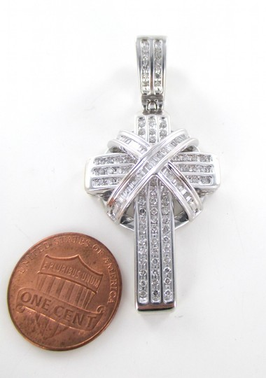 Other 14kt SOLID White Gold Diamond Cross Pendant for Sale!!!
