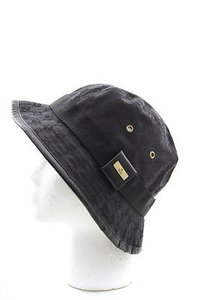 Gucci Gucci Black Monogram Print Leather Trim Gold Womens Mens Unisex Bucket Hat Lxl