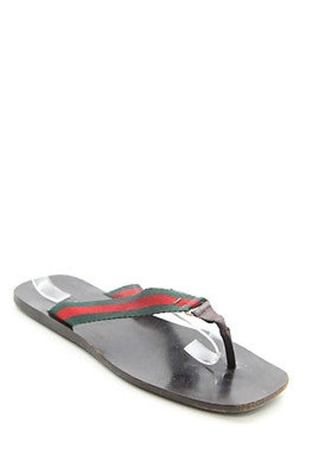 ecdf83fd9dce Gucci Leather Green Red Stripe Strap Flip Flop Thong Black Sandals Image 0  ...