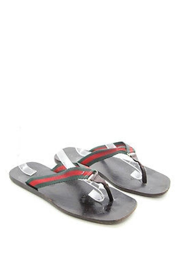 4d64321a6fad Gucci Leather Green Red Stripe Strap Flip Flop Thong Black Sandals Image 7.  12345678