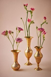 BHLDN Brass / Bronze Set Of 3: Etched Vase - Antique Reception Decoration