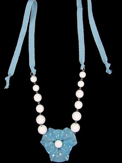 Moschino Moschino Jewelry - Pale Blue Enameled Flower Necklace