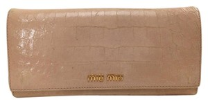 Miu Miu MIU MIU Bifold Long Wallet Pink Patent Leather