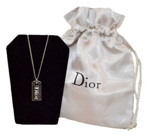 Dior Authentic Christian Dior Titanium Tag Pendant Necklace