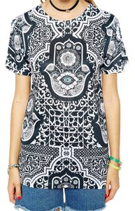 Jaded London Bohemian Boho Festival T Shirt Black White