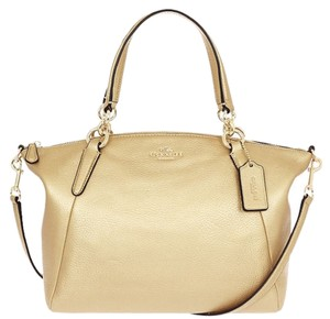 Coach Metallic Blue Hobo Satchel in Gold