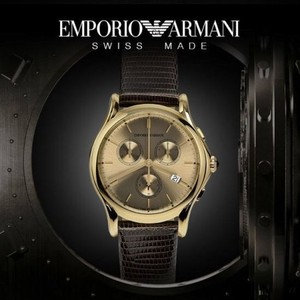 Emporio Armani Nwt EMPORIO ARMANI SWISS MADE Gold Brown Lizard Leather Band Watch ARS6005 $1200