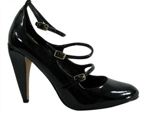 Nicole Miller Comma Mary Jane Strappy Patent Patent Leather Black Pumps