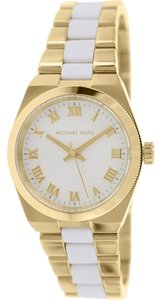 Michael Kors Nwt Channing Gold Tone & White Acetate Bracelet watch MK6122
