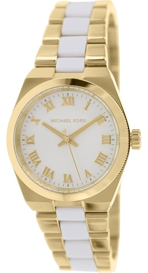 26a1ad676936 Michael Kors Gold Clearance-sale Mk6122 Channing Tone   White Acetate Watch