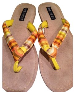 Nine West Yellow striped Sandals