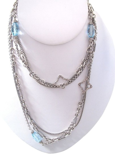David Yurman DAVID YURMAN Sterling Silver Blue Topaz Quatrefoil Multi Long Chain Necklace 925