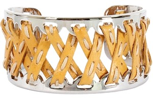 Tod's Tod's Jewelry - Tan Criss Cross Stitched Leather And Metal Cuff