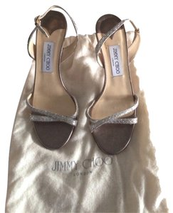 Jimmy Choo Glitter Strappy Sandal Metallic Classic Formal