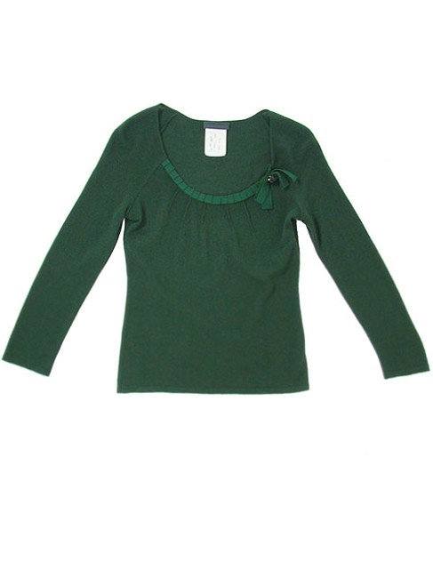 Alberta Ferretti Wool Pleated Scoop Back Sweater