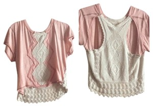 Free People Pink Crochet Top Pink/white