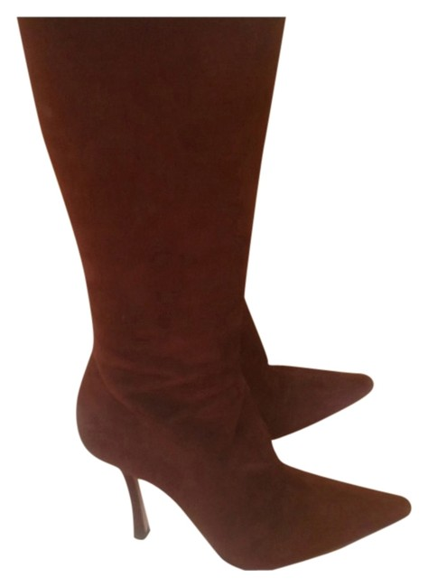 """Item - Brown """"Kid"""" Suede Tall Boots/Booties Size EU 38.5 (Approx. US 8.5) Regular (M, B)"""