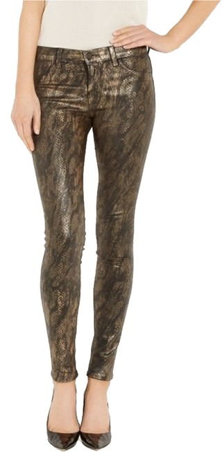 Item - Black and Gold Coated Skinny Jeans Size 27 (4, S)