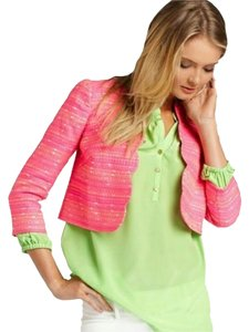 Lilly Pulitzer Metallic Scalloped Crop Top Neon Pink Jacket