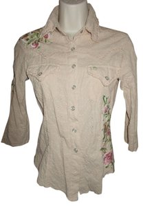 Miss Me Embroidered Embellished Button Down Shirt Beige