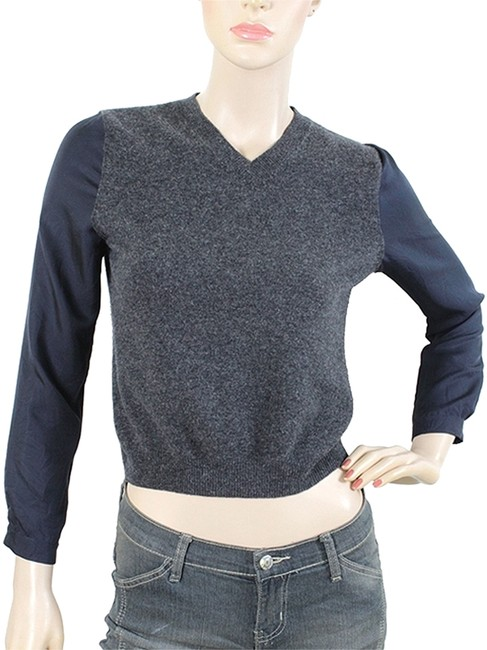 Carven Color-blocking Wool Silk V-neck Two-tone Sweater