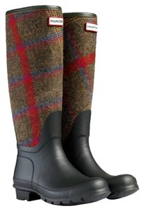 Hunter Black Tweed Check Boots