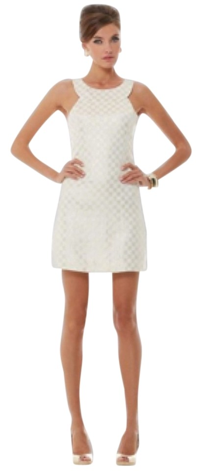 Lilly Pulitzer White/Gold Jaquard Wright Square Resort Above Knee ...