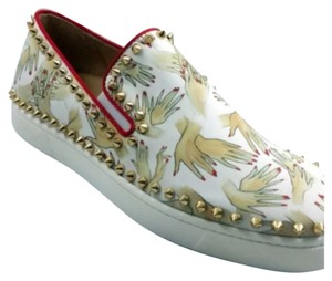 Christian Louboutin White, Red, Black, Gold Flats