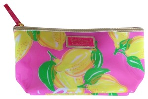 Lilly Pulitzer Lilly Pulitzer pink w/green and yellow lemon design makeup bag/clutch